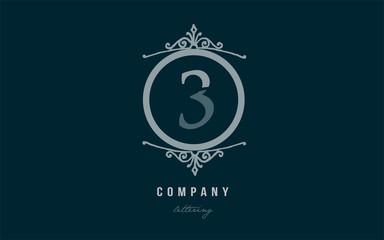 3 three blue decorative monogram number numeral digit logo icon design