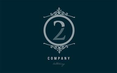 2 two blue decorative monogram number numeral digit logo icon design