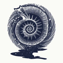 Ammonites and art nouveau flowers tattoo. Symbol of science, paleontology, history, biology, golden ratio. Ancient mollusk t-shirt design. nfinite space, meditation symbols, travel, tourism