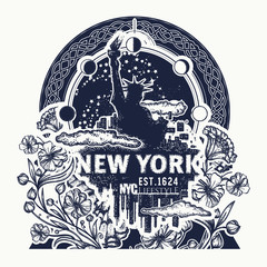 Statue of Liberty, New York and art nouveau flower tattoo and t-shirt design. Big city New York city skyline concept art poster