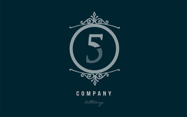 5 five blue decorative monogram number numeral digit logo icon design