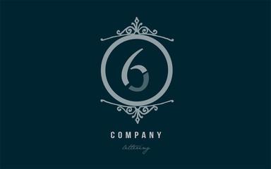 6 six blue decorative monogram number numeral digit logo icon design