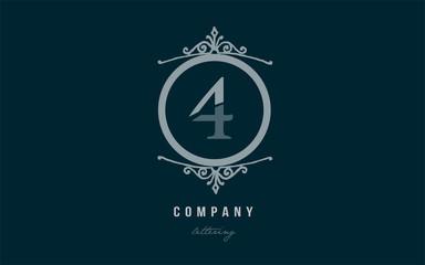 4 four blue decorative monogram number numeral digit logo icon design