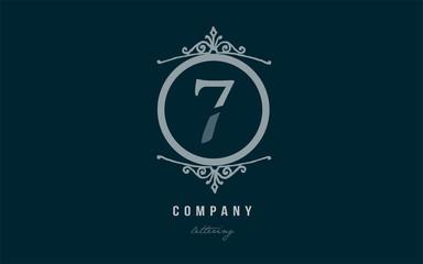 7 seven blue decorative monogram number numeral digit logo icon design