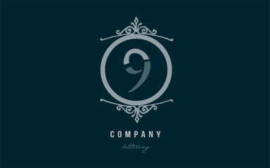 9 nine blue decorative monogram number numeral digit logo icon design