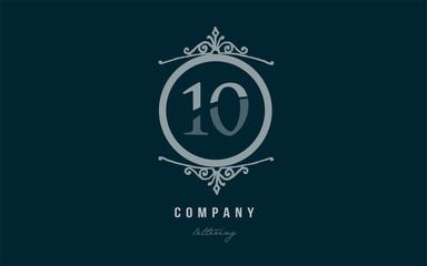 10 ten blue decorative monogram number numeral digit logo icon design