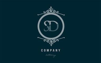 sd s d blue decorative monogram alphabet letter logo combination icon design