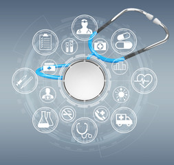 Floating digital blue stethoscope 3D rendering