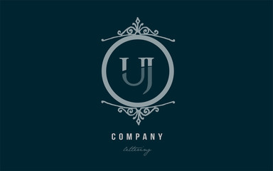 uj u j blue decorative monogram alphabet letter logo combination icon design