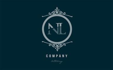 nl n l blue decorative monogram alphabet letter logo combination icon design