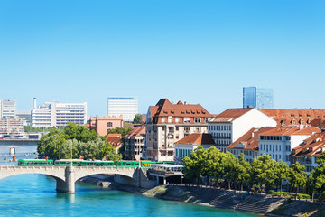 Cityscape of Basel and Middle bridge over Rhine