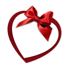 valentine heart shape gift card with red ribbon bow Isolated on white background