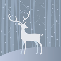 White vector deer in winter forest.