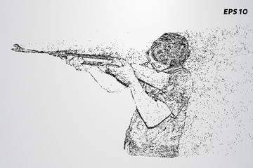 Shooting of the particles. A man fires a rifle. Vector illustration
