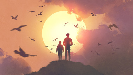 silhouette of father and son standing on the mountain looking at the sun rising in the sky, digital art style, illustration painting