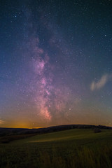 The center of the Milky Way as seen from Battenberg in the Palatinate Forest in Germany.