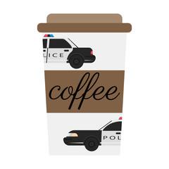 A policeman drinks coffee. Flat vector illustration.
