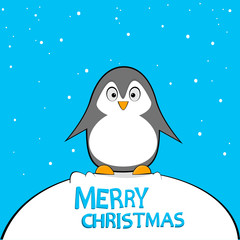 Arctic penguin postcard for the new year and Christmas