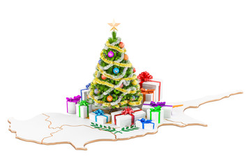 Christmas and New Year holidays in Cyprus concept. 3D rendering