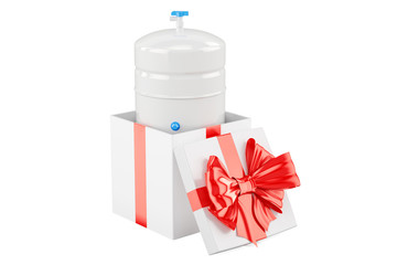 Gallon storage tank from reverse osmosis system inside gift box, gift concept. 3D rendering