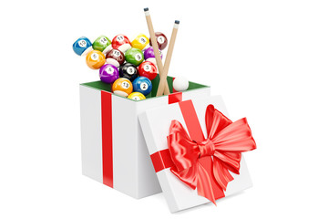 Gift concept, billiard balls with cue inside gift box. 3D rendering