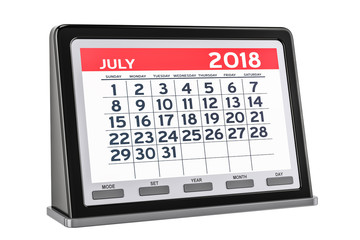 July 2018 digital calendar, 3D rendering