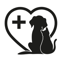 silhouette of a dog and a cat on a background of the heart