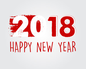 happy new year 2018 in red drawn banner, vector