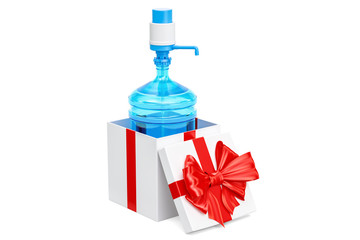 Water bottle with pump dispenser  inside gift box, gift concept. 3D rendering