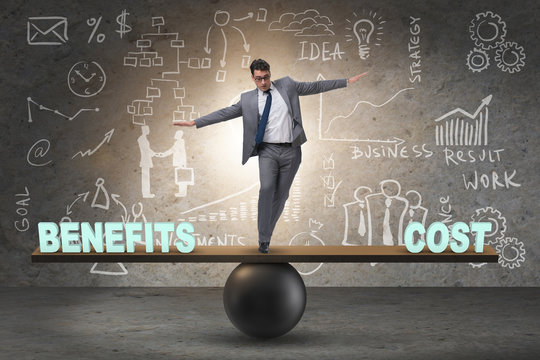 Businessman balancing between cost and benefit in business conce