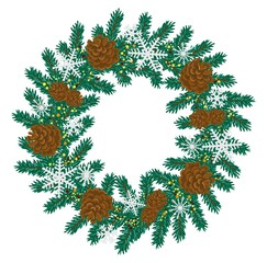 Christmas wreath of spruce and cones. Vector illustration.