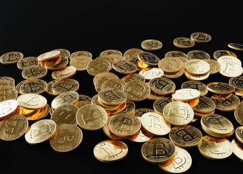Many Bitcoin coins scattered over black background, 3D illustration