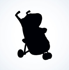 Baby carriage. Vector drawing