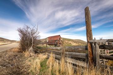 Rustic old rusty barn on an Idaho ranch