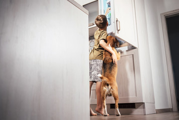 Boy and dog try to find somthing delicious in rifregerator