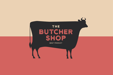 Butcher shop logo with picture of silhouette cow and writing meat product. Design elements for meat stores, packaging and advertising. Vector Illustration.