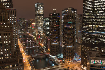 Wall Mural - Chicago River and Marina Towers
