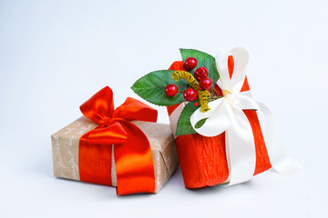 boxes with gifts on a white background.