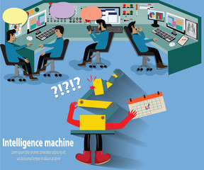 Cartoon industrial concept,Artificial intelligence and lazy workers - vector