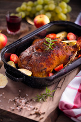 Marinated homemade roasted duck