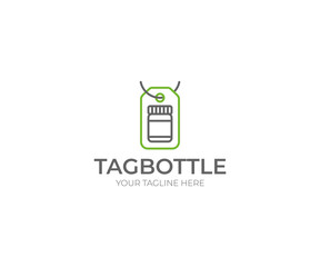Tag and Bottle Logo Template. Glass Jar Vector Design. Medicament Illustration