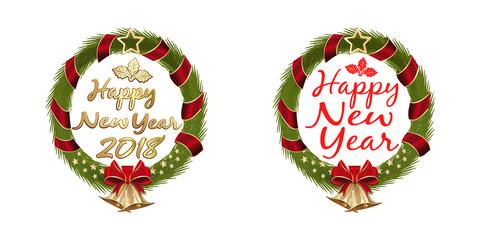 New Year 2018. Christmas wreath set. Vector illustration