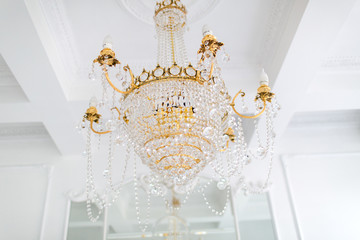 Crystal chandelier in luxurious mansion