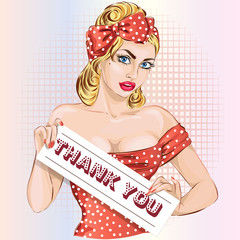 Sexy pin up woman holding thank you signboard, pinup girl in red hand drawn vector illustration background