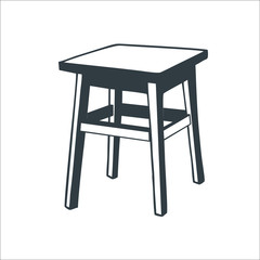 Wooden chair icon.  illustration