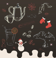 Chocolate sweet new year pattern. Background vector illustration.