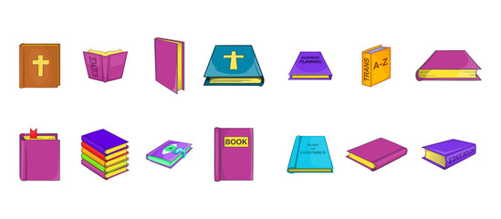 Book icon set, cartoon style