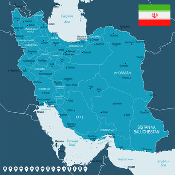 Iran - map and flag - Detailed Vector Illustration