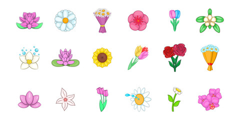 Flower icon set, cartoon style