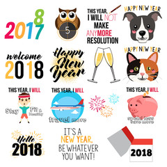 Happy New Year Signs and Icons Illustration